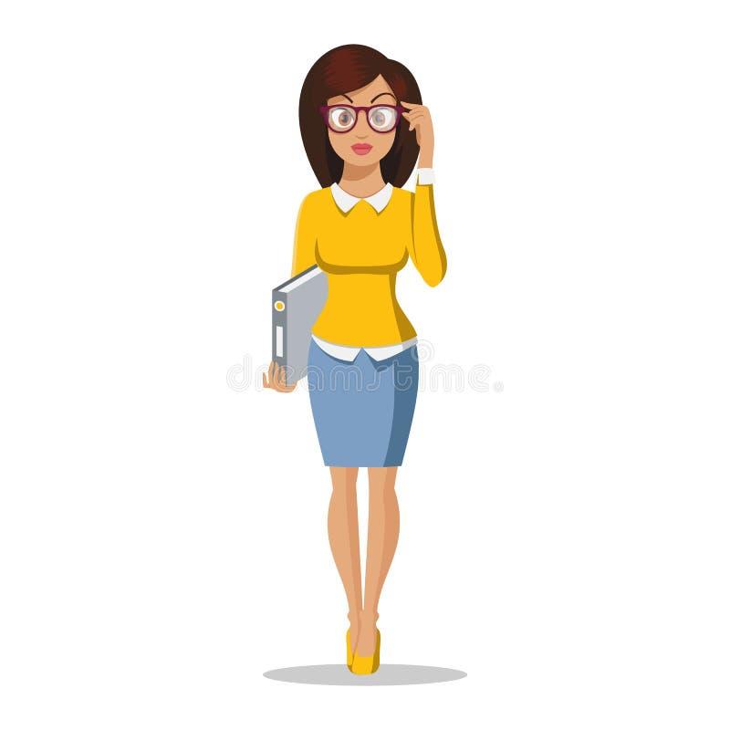 美好的样式的逗人喜爱的年轻女人 字符设计 企业女孩 办公室夫人 新可爱的妇女 便装样式 向量例证
