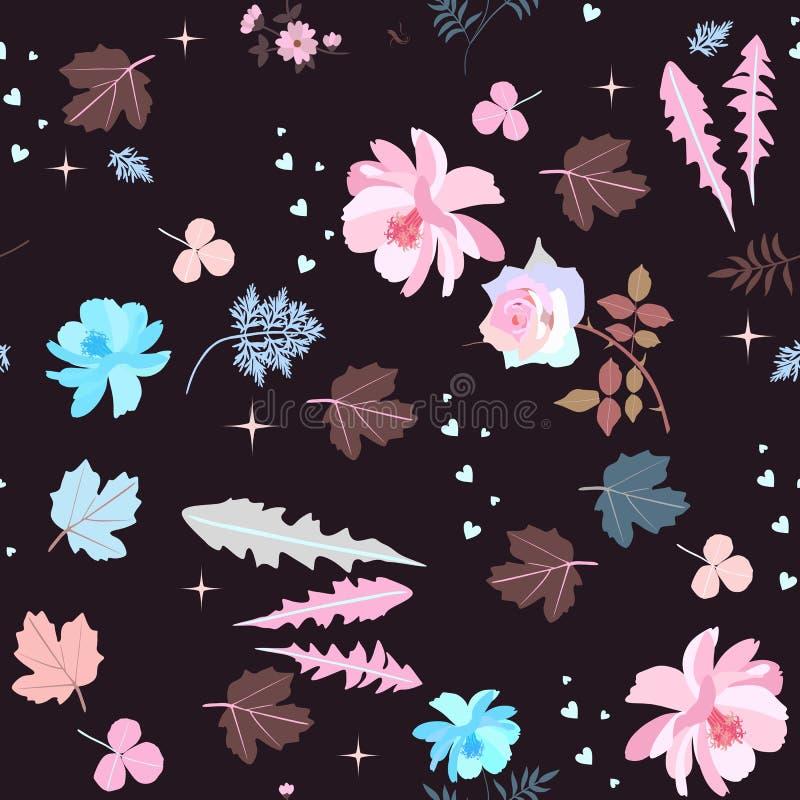 美好的桃红色和蓝色花、叶子、心脏和星在黑背景 无缝花卉的模式 织品的,纸印刷品 库存例证