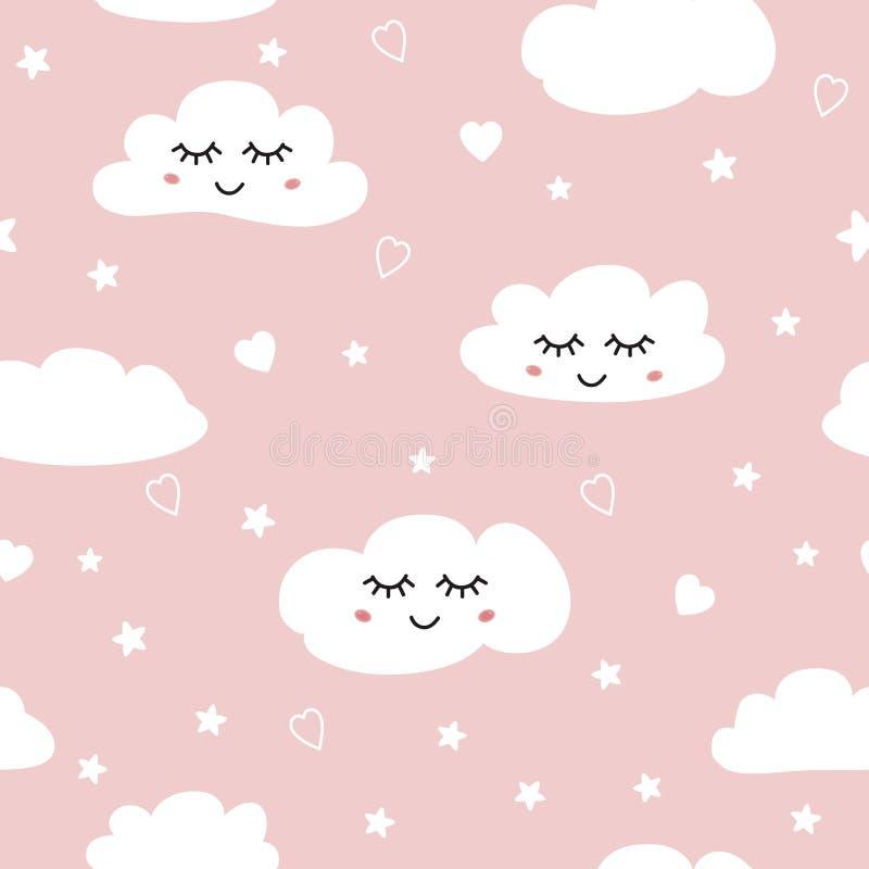 美好的桃红色无缝的样式白色睡觉云彩背景汇集女婴装饰品模板传染媒介 皇族释放例证