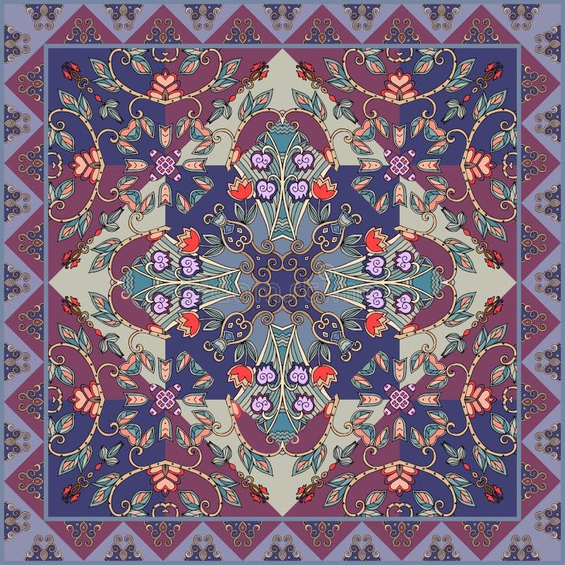 美好的桌布,陶瓷砖,枕头套,方巾正方形设计样式 库存例证图片