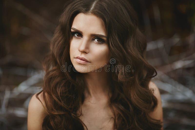 美好的棕色毛发的性感的模型特写镜头画象在绿色童话森林里 免版税库存图片