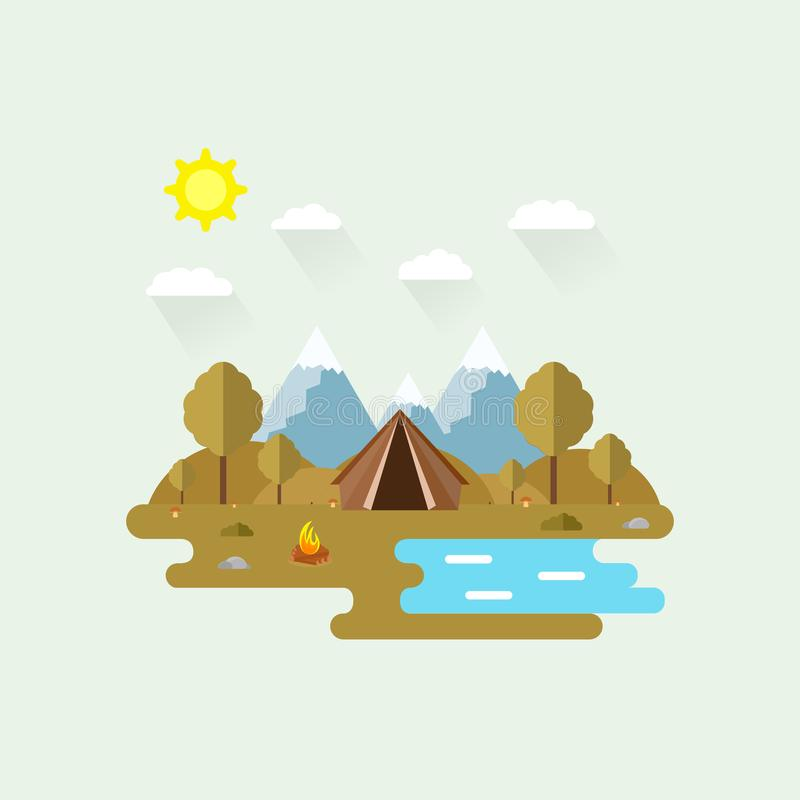 美好的森林场面的例证 在平的样式的秋天风景 晴朗的日 背景 帐篷,蘑菇,树,石头,凸轮 向量例证