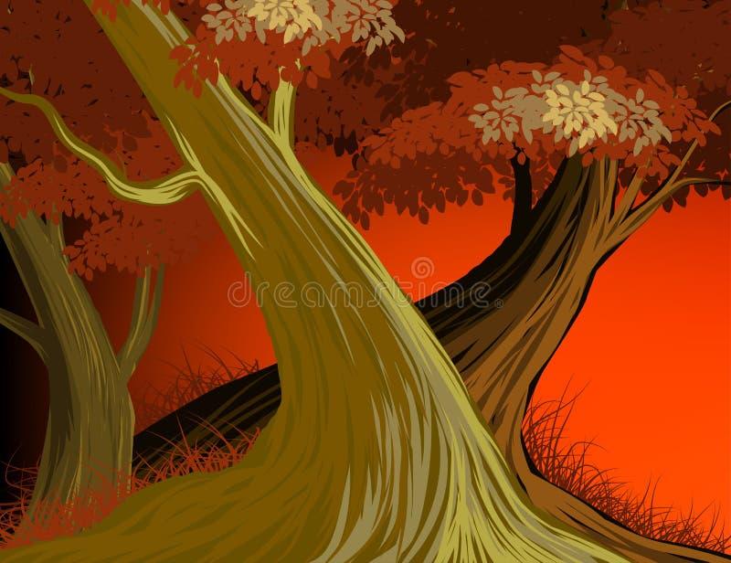 美好的森林晚上场面传染媒介自然背景 向量例证