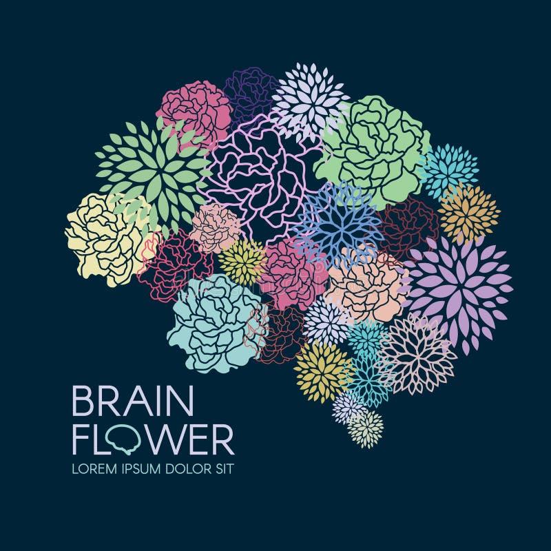 美好的植物群脑子花摘要传染媒介例证 库存例证
