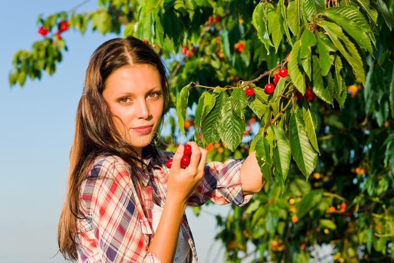 美好的樱桃收获夏天晴朗的结构树妇&# 免版税库存照片