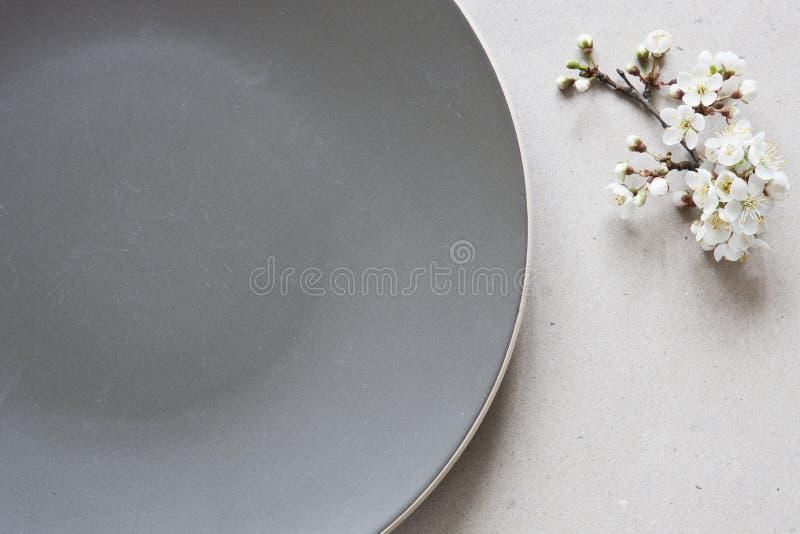 美好的樱桃树分支白色开花的花特写镜头照片在灰色板材附近的 顶视图,概念为母亲` s天 库存照片