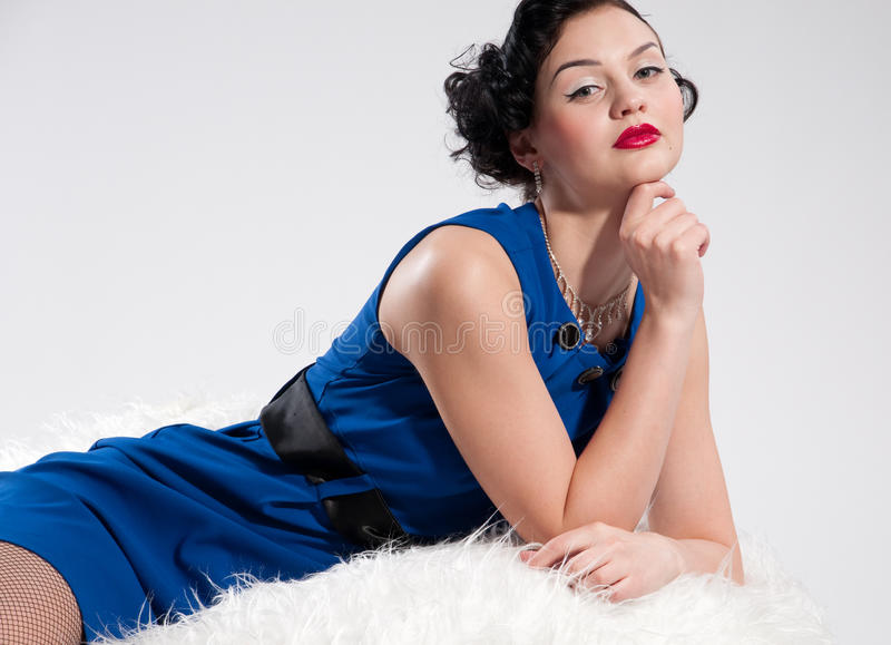 美好的毛皮魅力白人妇女 图库摄影