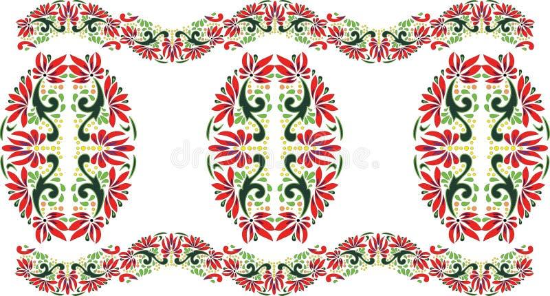 美好的民间艺术,花卉装饰 库存例证