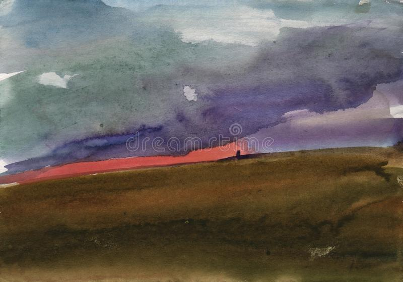 美好的水彩日落 从自然的练习曲日落被绘的水彩 免版税库存图片