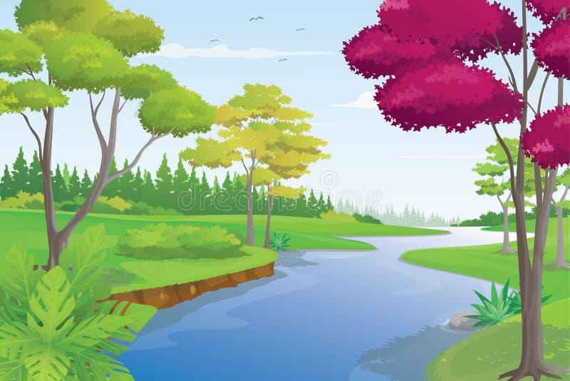美好的河风景在夏日,传染媒介例证