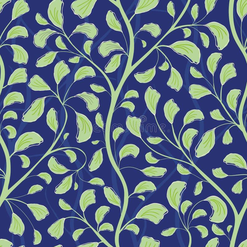 美好的流动的绿色手拉的叶子设计 在织地不很细午夜蓝色背景的无缝的传染媒介样式 ?? 库存例证