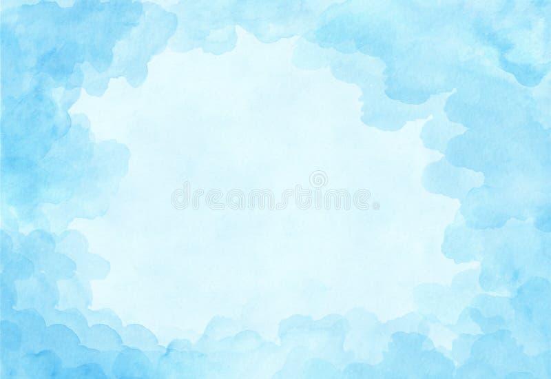 美好的浅兰的水彩背景 与失重的云彩帆布祝贺的,华伦泰的天空设计,邀请 免版税库存图片