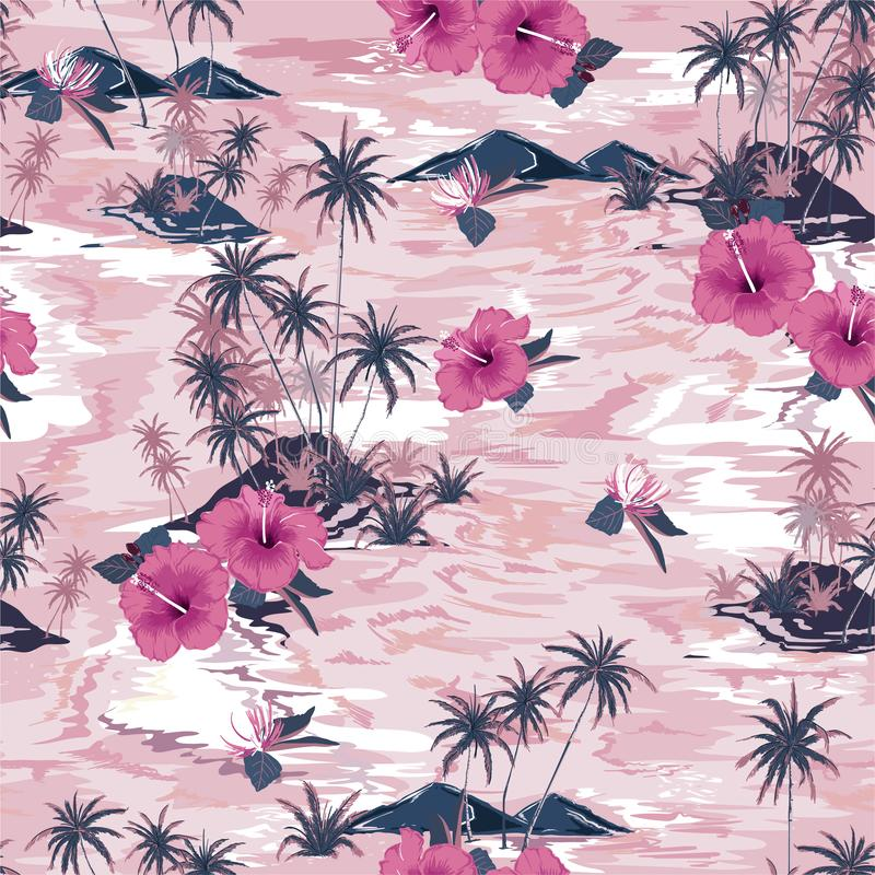 美好的海岛夏天天堂单调葡萄酒桃红色有开花的木槿花、棕榈树和异乎寻常的工厂设计的为 皇族释放例证