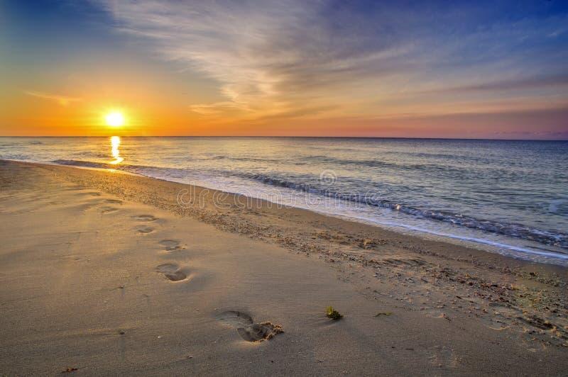 美好的海景,在沙子的脚印 库存图片