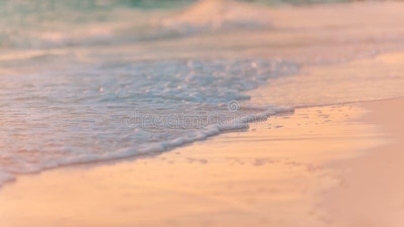 美好的海滩日落特写镜头与软的波浪沙子的 平安的热带自然海岸 库存照片