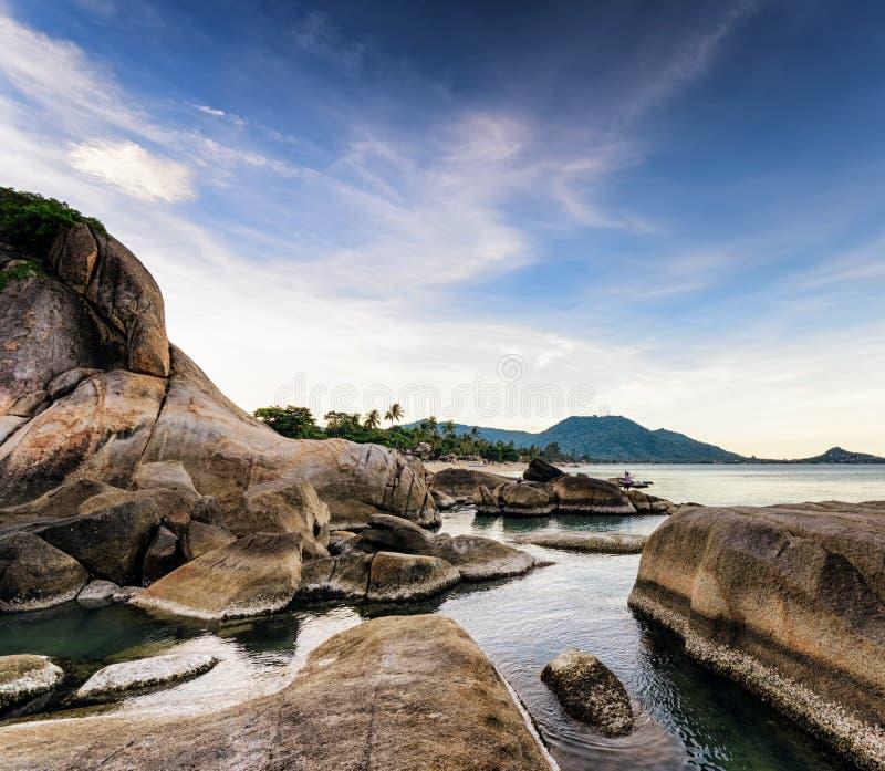 美好的热带风景。苏梅岛海岛,泰国 免版税库存图片