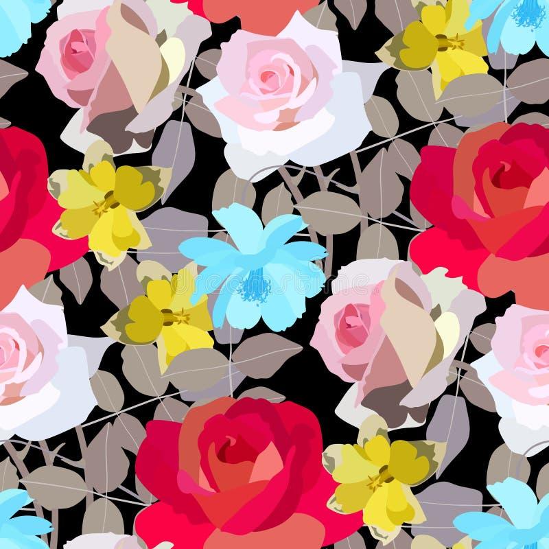 美好的玫瑰、黄水仙和波斯菊花纹花样 也corel凹道例证向量 向量例证