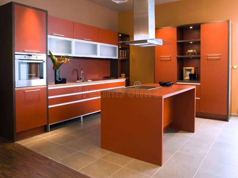 美好的现代设计内部的厨房 免版税库存照片