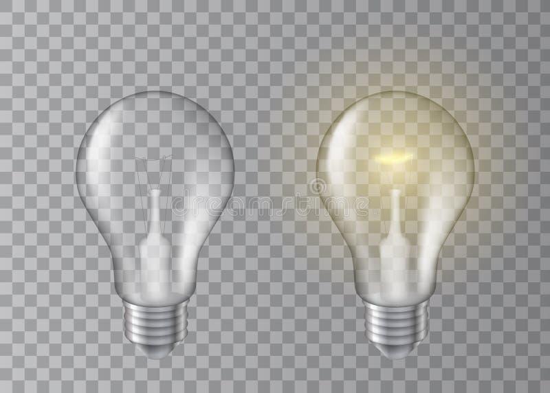 美好的现实传染媒介套在透明背景的有启发性和非有启发性电灯泡 皇族释放例证