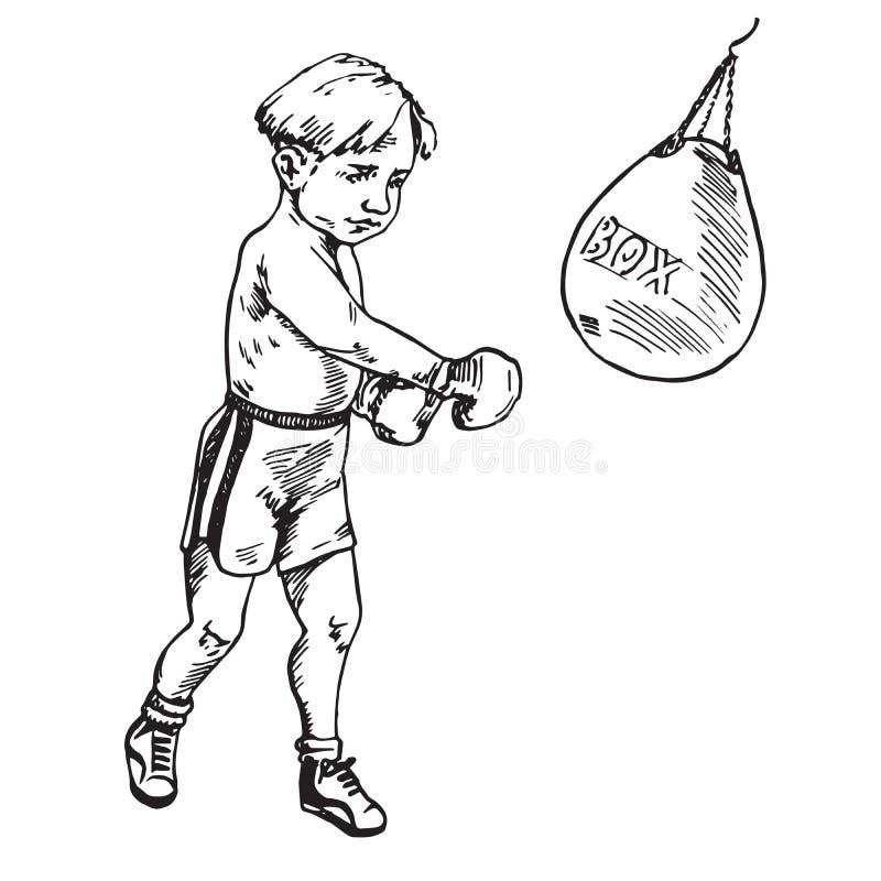 美好的男孩拳击,手拉的乱画 皇族释放例证