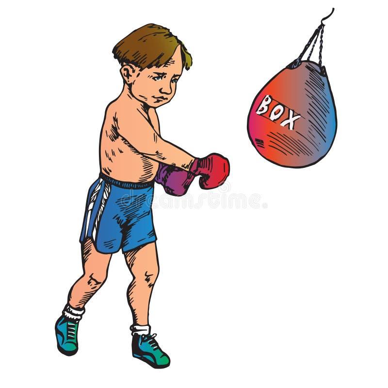 美好的男孩拳击,手拉的乱画 向量例证