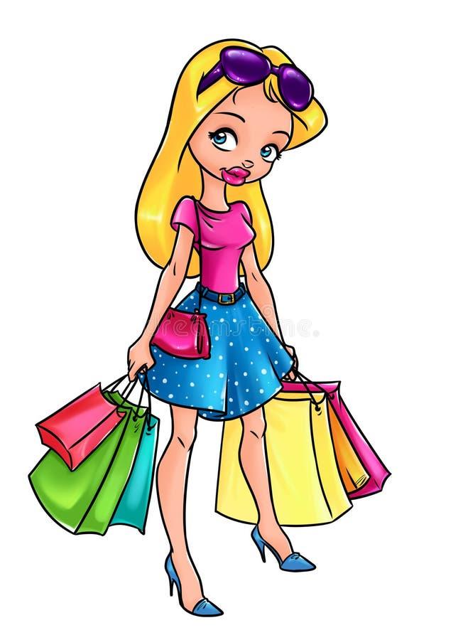 美好的白肤金发的女孩购物袋动画片例证 库存例证