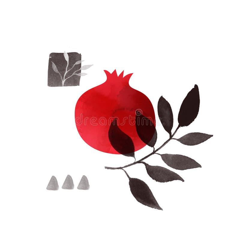 美好的石榴墨水和水彩绘画 发球区域印刷品,抽象海报设计 红色和黑例证 皇族释放例证