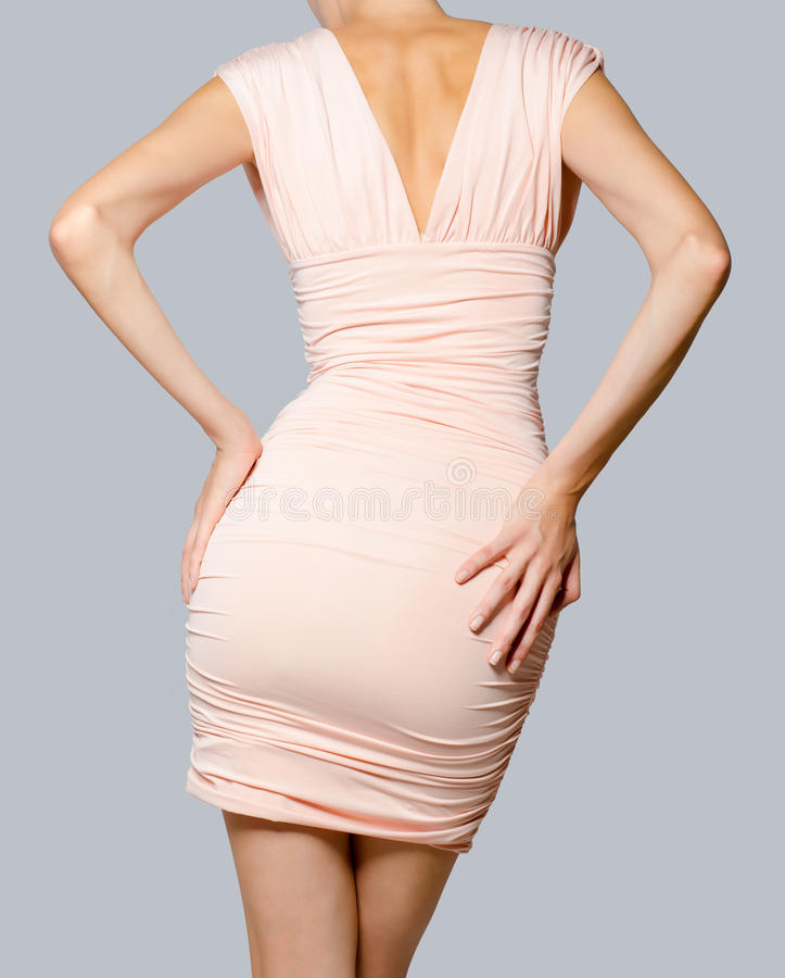 美好的礼服时装模特儿粉红色 免版税库存照片