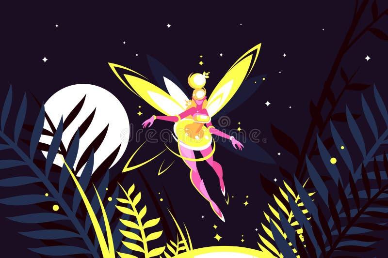 美好的神仙的飞行在夜森林里 库存例证