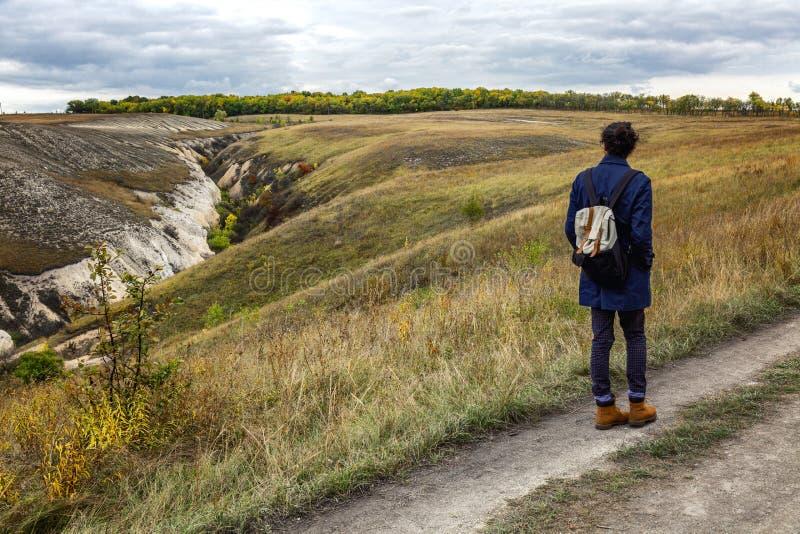 美好的秋天事业的年轻人与多彩多姿的草 华美的风景 免版税图库摄影