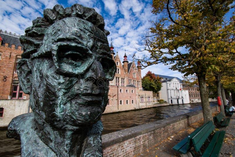 美好的秋天在布鲁日比利时 免版税库存图片