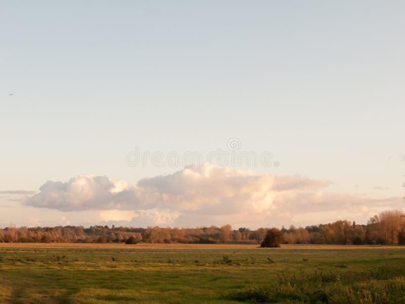 美好的秋天天空日落覆盖在国家landsca的领域 库存图片