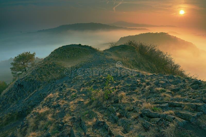 美好的秋季早晨浪漫看法与大雾的 免版税库存照片