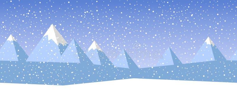 美好的简单的与抽象山和落的雪花的冬天无缝的传染媒介风景 皇族释放例证