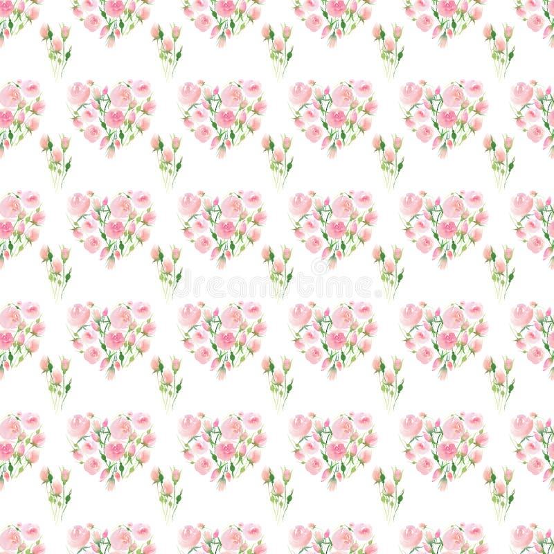 美好的精美嫩逗人喜爱的典雅的可爱的花卉五颜六色的与芽和叶子花束waterc的春天夏天桃红色和英国兰开斯特家族族徽 皇族释放例证