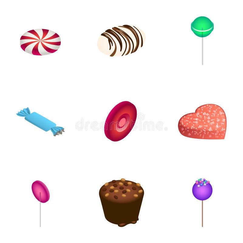 美好的糖果象集合,等量样式 库存例证
