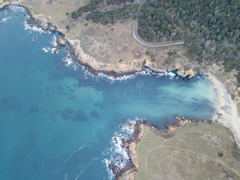 美好的索诺马海岸线天线在加利福尼亚 免版税库存照片