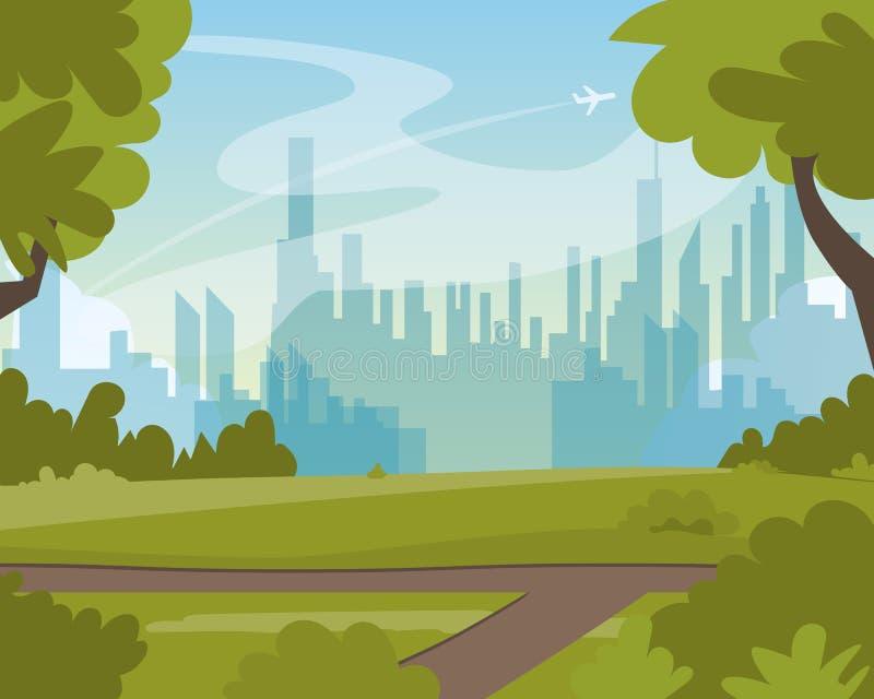 美好的绿色夏天城市公园风景视图 皇族释放例证