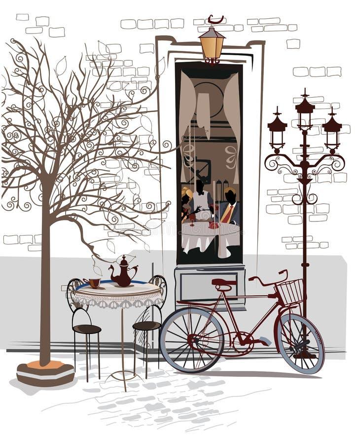 美好的老城市视图剪影系列用咖啡馆 皇族释放例证
