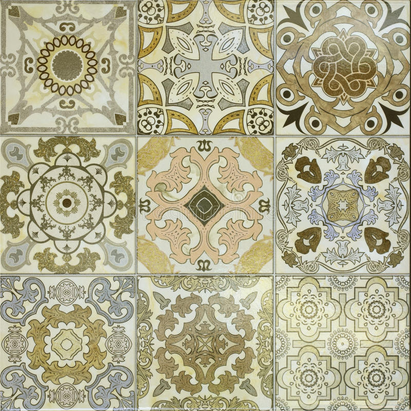 美好的老墙壁陶瓷砖样式 库存图片
