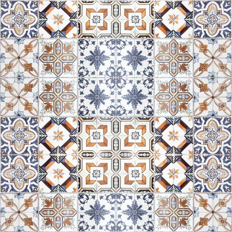 美好的老陶瓷砖样式在公园 库存例证