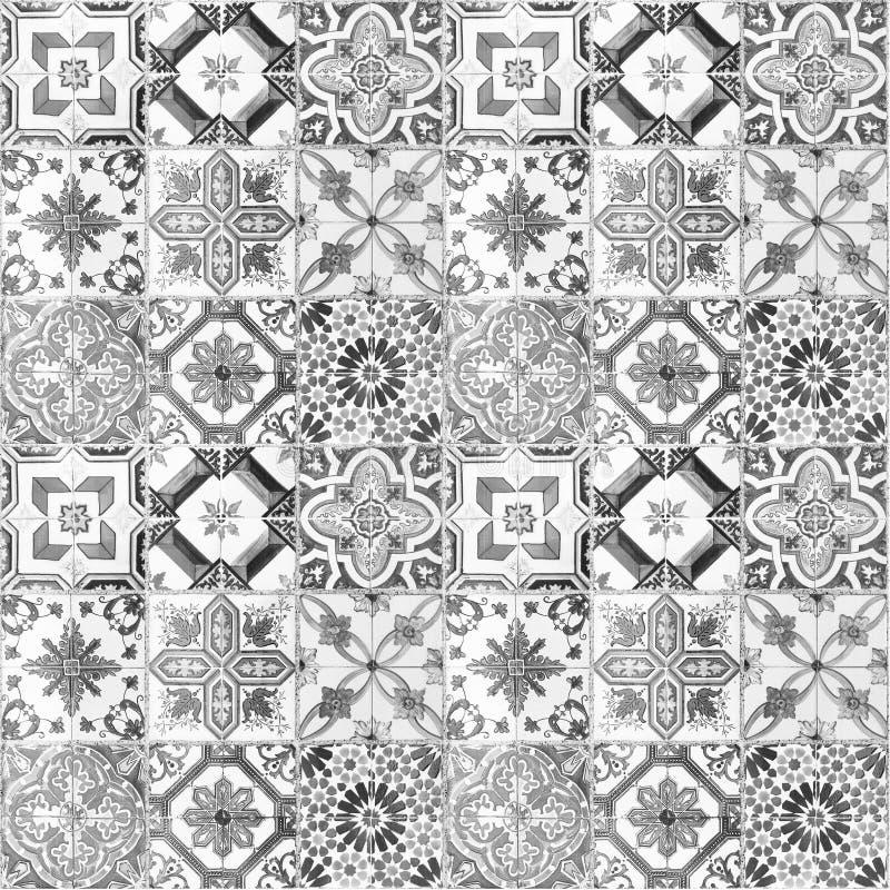 美好的老陶瓷砖样式 皇族释放例证