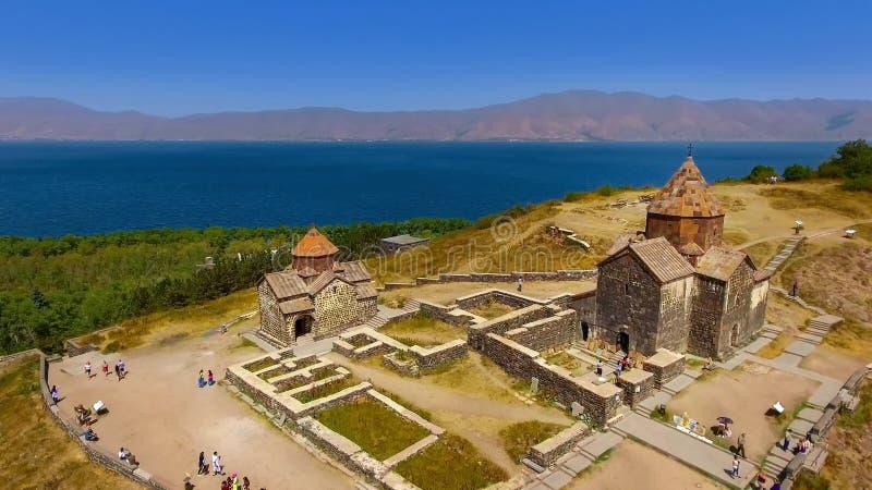 美好的老Sevanavank修道院复合体,旅游业在亚美尼亚,观光 免版税库存照片