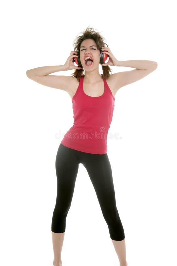 美好的耳机安全性性感的妇女 库存图片