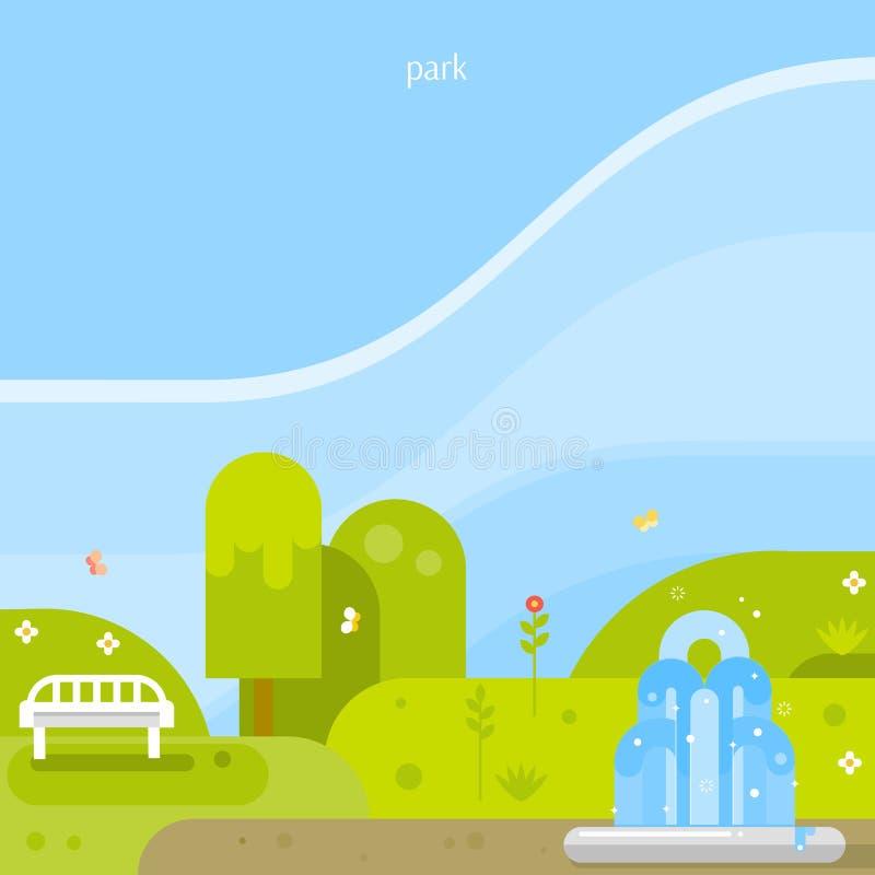 美好的背景 有喷泉的公园 库存例证