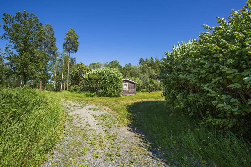 美好的自然风景在晴朗的夏日 在高绿色树之间的小木私有房子在天空蔚蓝背景 图库摄影