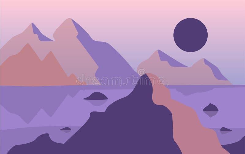 美好的自然风景,自然场面与山的在晚上时间传染媒介例证 向量例证