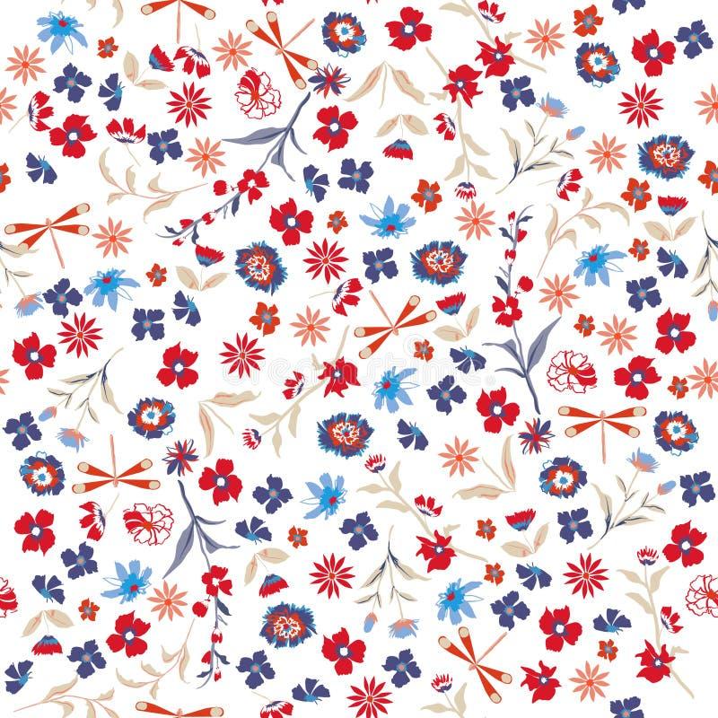 美好的自由无缝的花卉样式 在小c的背景 向量例证