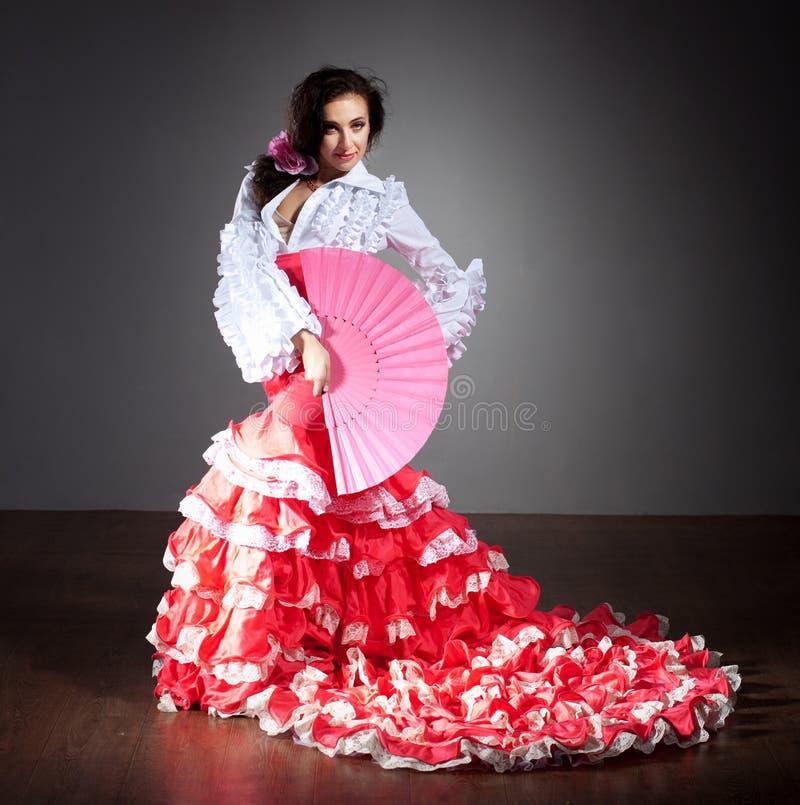 美好的舞蹈演员礼服佛拉明柯舞曲 库存照片