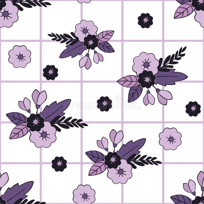 美好的花卉和瓦片无缝的样式 为纺织品,包裹,网和所有装饰项目完善 皇族释放例证